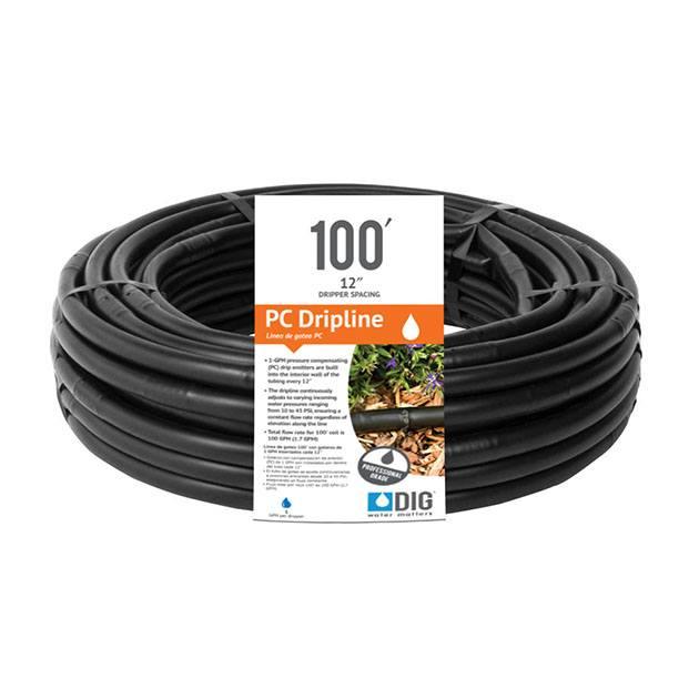 1/2″ Pressure Compensating Dripline, black